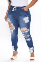 Deep Blue Fashion Casual Patchwork Plus Size Jeans