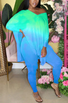Light Blue Fashion adult Ma'am OL Gradient contrast color Two Piece Suits pencil Long Sleeve Two Pieces