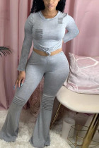 Gray Fashion Casual Long Sleeve O Neck Regular Sleeve Regular Solid Two Pieces