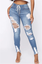 Light Blue Fashion Casual Regular Solid Jeans