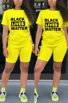 Fashion Casual Printed T-shirt Yellow Shorts Set