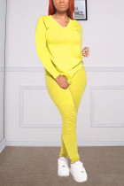 Yellow Fashion Casual Long Sleeve V Neck Regular Sleeve Regular Solid Two Pieces