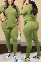 Green Sexy Solid Regular Short Sleeve Two Pieces