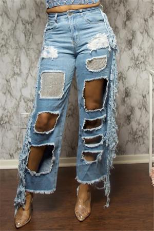Light Blue Sexy Regular Solid Jeans