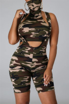 Army Green Fashion Sexy Sleeveless Scarf Collar Off The Shoulder Short Camouflage Print Two Pieces