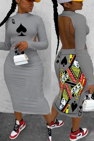 Gray Fashion Casual Regular Sleeve Long Sleeve Half A Turtleneck Printed Dress Mid Calf Solid Dresses