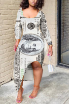 White Fashion Sexy Regular Sleeve Long Sleeve U Neck Printed Dress Mid Calf Print Dresses