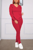 Red Fashion Casual Long Sleeve V Neck Regular Sleeve Regular Solid Two Pieces