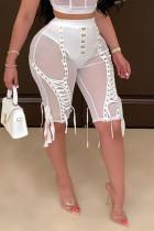 White Fashion Sexy Skinny Patchwork Pants