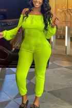 Fluorescent Green Fashion Casual Bateau Neck Long Sleeve Regular Sleeve Regular Solid Jumpsuits