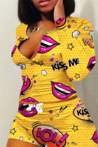 Yellow Polyester Fashion adult Ma'am Sweet O Neck Print Two Piece Suits Pattern Plus Size