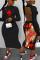 Black Fashion Casual Regular Sleeve Long Sleeve Half A Turtleneck Printed Dress Mid Calf Solid Dresses
