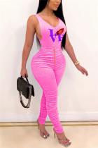 Pink Fashion Sexy Sleeveless O Neck Tank Regular Print Two Pieces