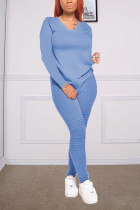 Blue Fashion Casual Long Sleeve V Neck Regular Sleeve Regular Solid Two Pieces