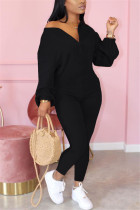 Black Fashion Casual Zipper Collar Long Sleeve Regular Sleeve Regular Solid Jumpsuits