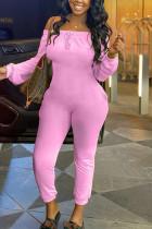 Pink Fashion Casual Bateau Neck Long Sleeve Regular Sleeve Regular Solid Jumpsuits