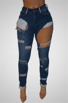Deep Blue Fashion Sexy Skinny Solid Jeans