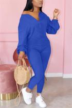 Blue Fashion Casual Zipper Collar Long Sleeve Regular Sleeve Regular Solid Jumpsuits
