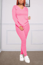 Pink Fashion Casual Long Sleeve V Neck Regular Sleeve Regular Solid Two Pieces