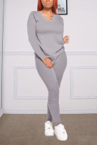 Gray Fashion Casual Long Sleeve V Neck Regular Sleeve Regular Solid Two Pieces