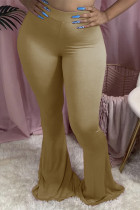 Khaki Fashion Casual Boot Cut Solid Trousers