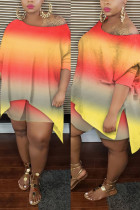 Orange Sexy Patchwork Print asymmetrical Straight Long Sleeve Two Pieces