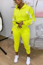 Fluorescent Green Fashion Casual Long Sleeve Zipper Collar Regular Sleeve Short Patchwork Two Pieces