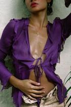 Purple Fashion Sexy Long Sleeve Regular Sleeve Regular Patchwork Tops