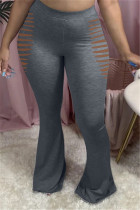 Dark Gray Fashion Casual Boot Cut Solid Trousers
