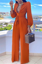Orange Casual Button Solid Draped Knitting Long Sleeve V Neck Jumpsuits