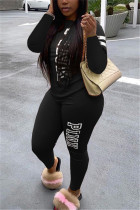 Black Fashion Casual Adult Polyester Letter Print Letter O Neck Long Sleeve Regular Sleeve Regular Two Pieces