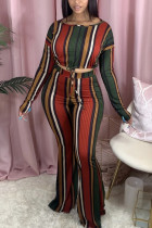 Yellow Green Fashion Casual Long Sleeve O Neck Regular Sleeve Short Striped Two Pieces