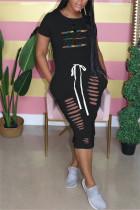 Black Fashion Casual Regular Sleeve Short Sleeve O Neck Printed Dress Letter Print Dresses