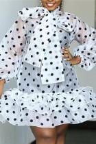 White Fashion Sexy Lantern Sleeve Long Sleeve Mandarin Collar Lantern Skirt Knee Length Print Dresses