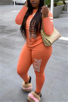 Orange Fashion Casual Adult Polyester Letter Print Letter O Neck Long Sleeve Regular Sleeve Regular Two Pieces