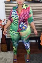 Colorful Fashion Casual Turndown Collar Long Sleeve Regular Sleeve Print Plus Size Set