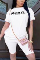 Fashion Casual Printed T-shirt White Shorts Set