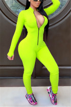 Green Fashion Casual Solid zipper Milk. Long Sleeve O Neck Jumpsuits