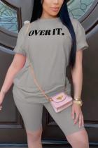 Fashion Casual Printed T-shirt Gray Shorts Set