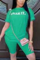 Fashion Casual Printed T-shirt Green Shorts Set