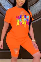 Fashion Casual Letter Printed T-shirt Orange Shorts Set