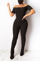 Black Fashion Sexy Solid Polyester Short Sleeve one word collar Jumpsuits