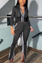 Black Casual Sportswear Long Sleeve Zipper Collar Regular Sleeve Short Patchwork Two Pieces