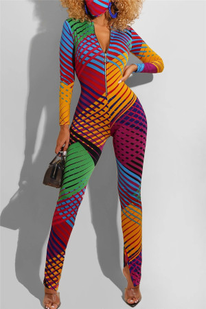 Colorful Fashion Zipper Collar Long Sleeve Regular Sleeve Skinny Print Jumpsuits