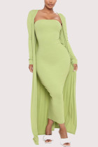 Green Fashion Long Sleeve Strapless Regular Sleeve X Long Solid Two Pieces