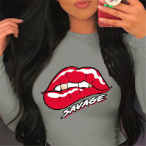 Gray Fashion Casual O Neck Long Sleeve Regular Sleeve Regular Lips Printed Tops