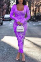 Purple Fashion  Regular Sleeve Long Sleeve U Neck Printed Dress Ankle Length Print Dresses