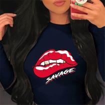 Navy Blue Fashion Casual O Neck Long Sleeve Regular Sleeve Regular Lips Printed Tops