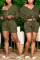 Army Green Fashion Casual Long Sleeve V Neck Regular Sleeve Regular Solid Two Pieces