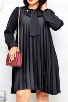 Black Casual Regular Sleeve Long Sleeve Mandarin Collar Pleated Knee Length Solid Dresses